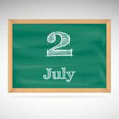 July 2, day calendar, school board, date — Stock Vector
