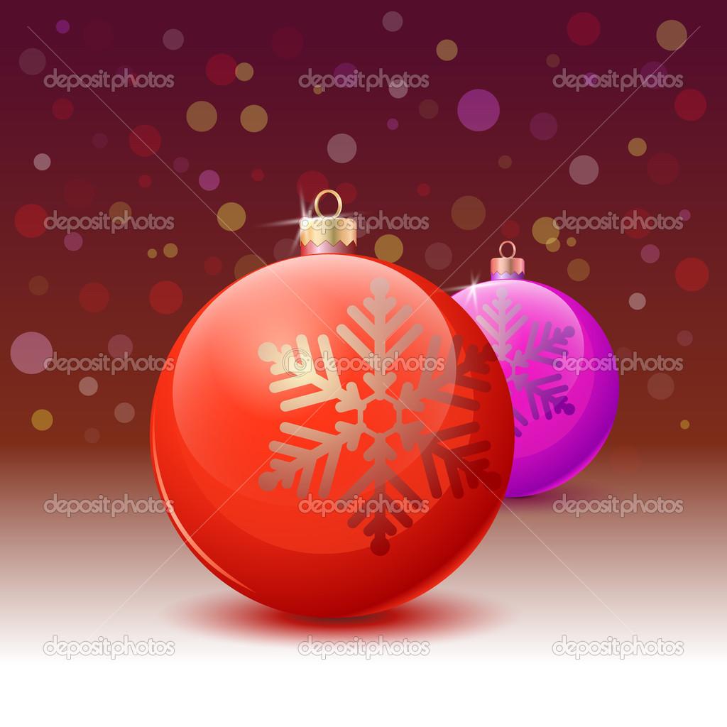 在白色背景的红色圣诞球