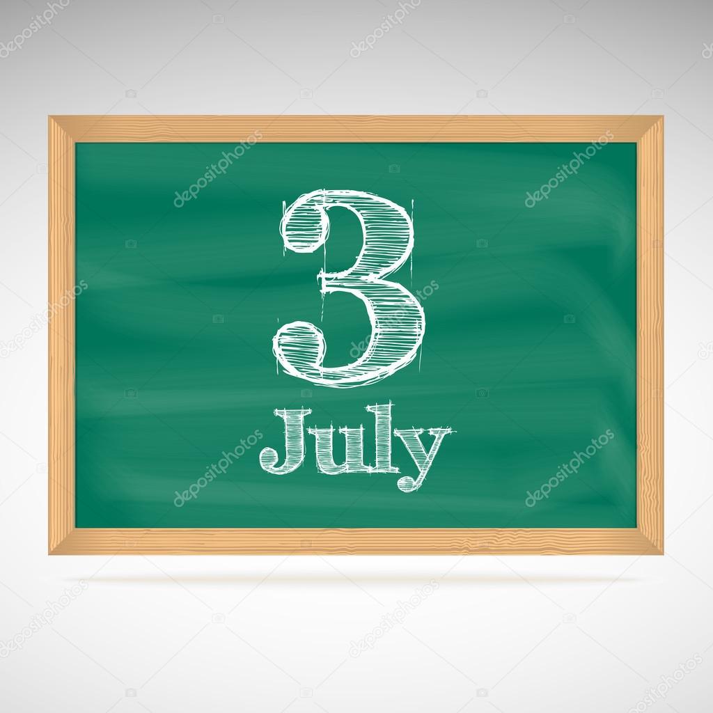 Calendar Illustration Board : July day calendar school board date — stock vector