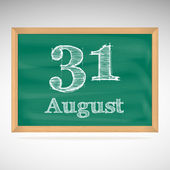 August 31, inscription in chalk on a blackboard — Stock Vector