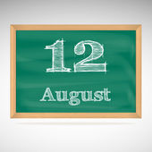 August 12, inscription in chalk on a blackboard — Vetorial Stock