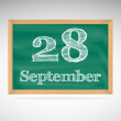 September 28, inscription in chalk on a blackboard — Stock Vector