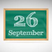September 26, inscription in chalk on a blackboard — Stock Vector