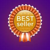 Vector best seller gold sign, label template — Stock Vector