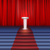 Scene with curtain, tribune and stairs covered red carpet. Place for performances — Stock Vector