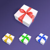 Gift boxes with ribbons and bows in different colors — Stock Vector