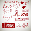 Stock Vector: Love sceth, romance doodles