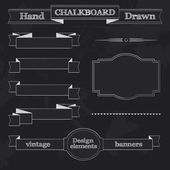 Chalkboard Style Banners, Ribbons and Frames — Vector de stock