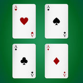 Aces playing cards individually — Stock Vector
