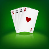Four aces playing cards on green background. — Stockvector