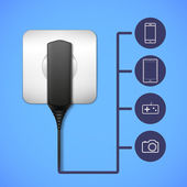 Charger into an electrical outlet. — Stock Vector
