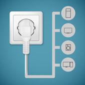 Electrical plug closeup — Stock Vector