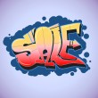 Graffiti style, sale inscription, urban art. — Stock Vector #50197031
