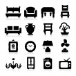 Stok Vektör: Furniture Icons