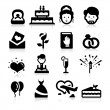 Wedding icons set elegant seris — Stock Vector