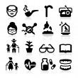 Senior lifestyle Icons set elegant series — Vector de stock