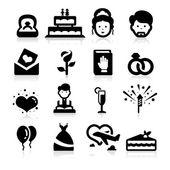 Wedding icons set elegant seris — Stock Vector
