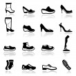 Stock Vector: Icons set Footwear