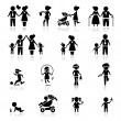 Icons set people and family - Stock Vector