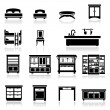 Icons set furniture - Stock Vector
