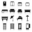 Icons set furniture — Imagen vectorial