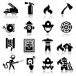 Icons set firefighter — ストックベクター #22895976