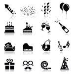 Icons set Birthday and celebration — Stock Vector