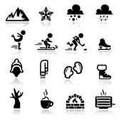 Icons set winter — Stock Vector