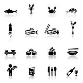 Icons set sea food — Stock Vector