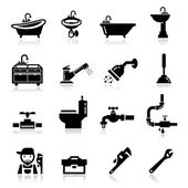 Icons set Plumbing — Stock vektor