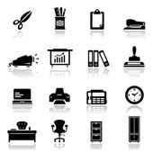 Icons set Office equipment and furniture — Stock Vector