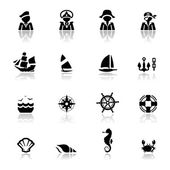 Icons set Nautical — Stock Vector