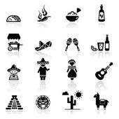 Icons set Mexican culture and cuisine — Stock Vector