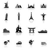Icônes définies des cultures et des monuments — Vecteur