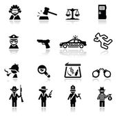 Icons set law and justic — Stock Vector