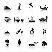 Icons set Italian Cuisine and culture — Stock Vector