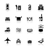 Icons set Safari and hotel — Stock Vector
