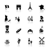 Icons set French Cuisine and culture — Stock Vector