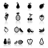 Icons set fruits — Stock Vector