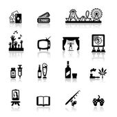 Icons set fun and entertainment — Stock Vector