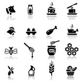 Icons set Icons set Dairy and natural products — Stock Vector