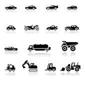 Icono conjunto de automóviles y vehículos industriales — Vector de stock