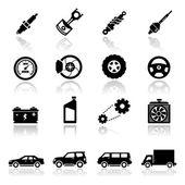 Pictogrammen instellen autodelen — Stockvector