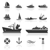 Icon set Boats — Stock Vector