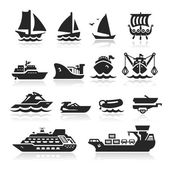 Boats Icons Set — Stock Vector