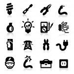 Electrician icons set Elegant series — Stock Vector