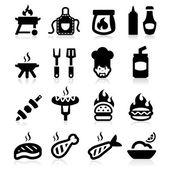 Barbecue pictogrammen instellen elegante serie — Stockvector