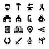 Blacksmith icons set - elegant series — Stock Vector