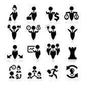 Los iconos de concepto de negocio conjunto elegante serie — Vector de stock