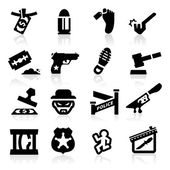 Crime Icons set Elegant series — Stock Vector